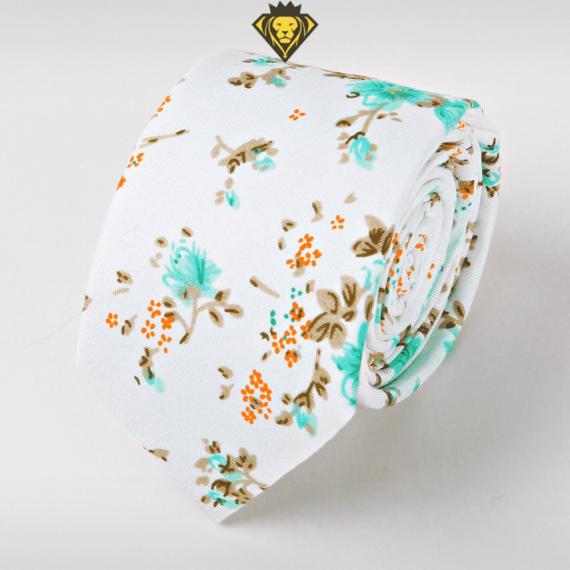 Corbata Estampada con Flores Azul Cielo