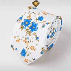 Corbata Estampada con Flores Azules