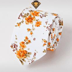 Corbata Estampada con Flores Naranja