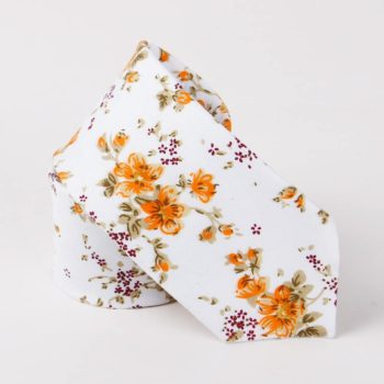Corbata Estampada con Flores Naranja - JV Legacy
