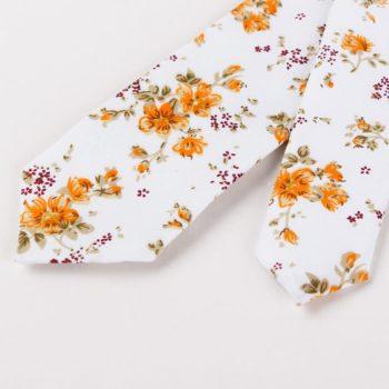 Corbata Estampada con Flores Naranja puntas - JV Legacy