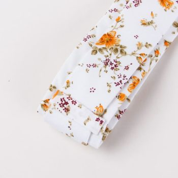 Corbata Estampada con Flores Naranja reverso - JV Legacy
