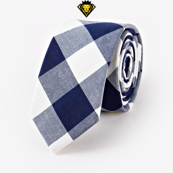 Corbata de cuadros - blanca y azul marino - JV Legacy