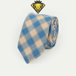 Corbata de cuadros - caqui y azul - JV Legacy