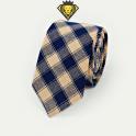 Corbata de cuadros – Caqui con Azul Marino