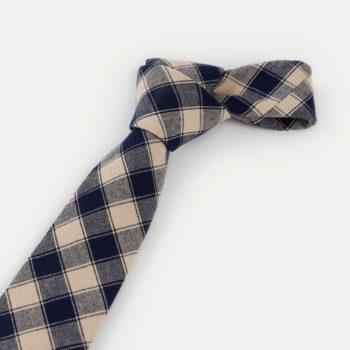 Corbata d cuadros - caqui y azul marino nudo - JVLegacy