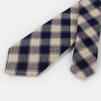Corbata de cuadros - caqui y azul marino puntas - JVLegacy