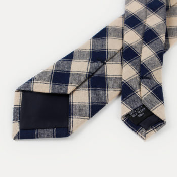 Corbata de cuadros - caqui y azul marino puntas traseras - JVLegacy