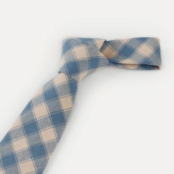 Corbata de cuadros - caqui y azul nudo - JVLegacy