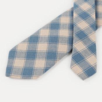 Corbata de cuadros - caqui y azul puntas - JVLegacy