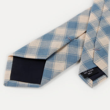 Corbata de cuadros - caqui y azul puntas traseras - JVLegacy
