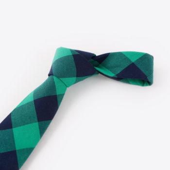 Corbata de cuadros - verde y azul marino nudo - JVLegacy