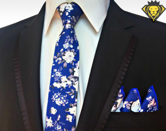 Kit de Corbata y Pañuelo - Azul Flower - JV Legacy