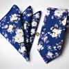 Set de Corbata y Pañuelo - Azul Flower - JV Legacy