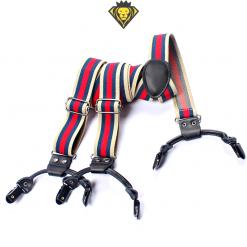 Tirantes elegantes rayados de piel con 6 clips