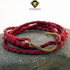 Pulsera Roja de Cuerda con Ancla